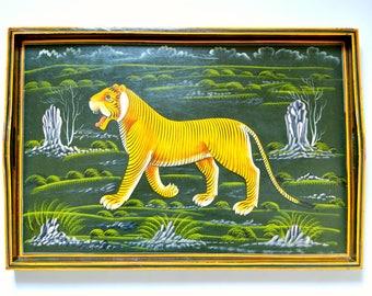 Large Vintage Wooden Tiger Serving Tray
