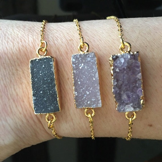 Druzy Bracelets, Crystal jewelry, wedding jewelry