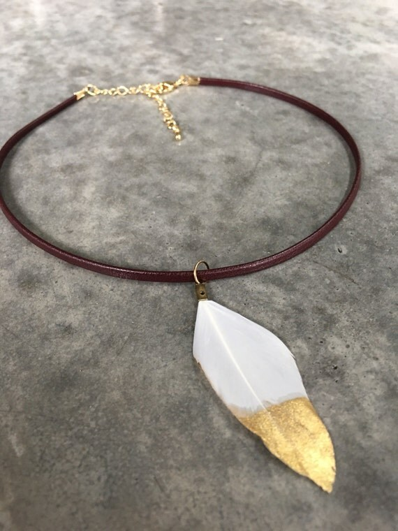 Feather Choker, gold dipped, boho jewelry