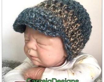 Baby Boy 0-3 months newsboy baseball cap crochet knitted hippie beanie unique visor peak sale kids newborn hats shower gift photo prop brown