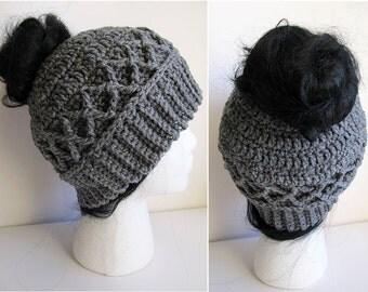 Messy Bun Hat CROCHET PATTERN - Pattern for Crochet Ponytail Hat - Messy Bun Beanie Pattern - Knit Cable Crochet Messy Bun Hat Pattern Gray