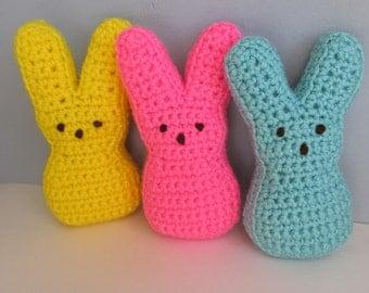 PATTERN Crochet Bunny Peep / Crochet Easter Peeps Pattern / Crochet Easter Bunny / Peep Marshmallow Bunny Pattern / Crochet Peeps Pattern