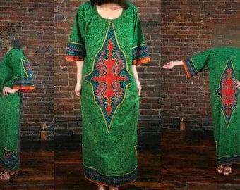 Vintage 80's Vintage Dashiki Caftan Ethnic Hippie Maxi Dress (O) Coachella Perfect