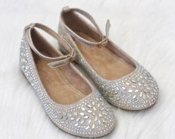 SALE!!! Kids Shoes -GOLD Shimmer satin with rhinestone ballet flat. Perfect for princess, fairies, and flower girl shoes