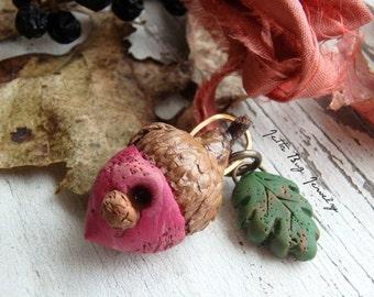 Loganberry Acorn Birdhouse- polymer clay beads. maroon rose acorn birdhouse. oak leaf. sari silk. woodland rustic pendant. Jettabugjewelry