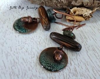 Fresh Open Places- artisan enamel dark green discs. wood twig beads. copper acorns. turquoise rondelles. woodland jewelry. Jettabugjewelry