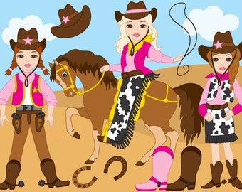 50% OFF SALE CowGirl Clipart - Digital Vector Wild West, Cowboy, Cowgirl, Western, Cowgirl Clip Art