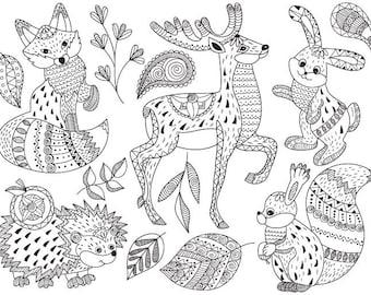 50% OFF SALE Tribal Animals Clip Art - Vector Animals Clipart, Tribal Clipart, Woodland Clipart, Mandala Clipart, Doodle Animals Clip Art