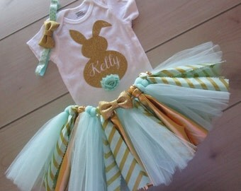 Personalized Baby Girls EASTER Outfit/ Easter Bunny Tutu Outfit/Mint and Gold Theme
