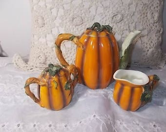 Teapot Pumpkin Set creamer and sugar bowl, Vintage Teapot Set, Vintage Dishes, Vintage Kitchen, Vintage Home Decor,