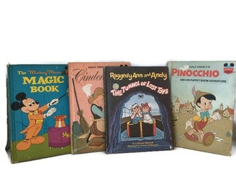 Vintage Walt Disney and Weekly Reader Collection of 4 Books