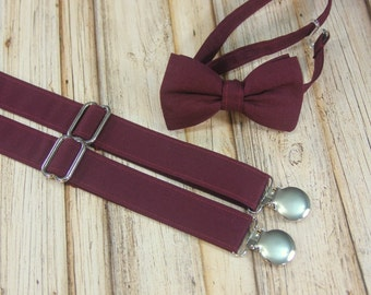 Burgundy Wine Bow Tie and Suspenders set Similar  Davids Bridal Wine (Men, boys, baby, toddler, infant Suspender Bowtie