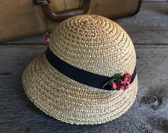 Childs Antique Straw Hat, Flowers, Ribbon Bow