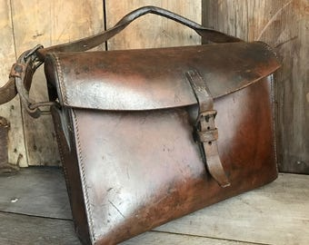 British Army Leather Briefcase Bag, English Broad Arrow Military Messenger Case, Woody Brown, Document Carrier Satchel