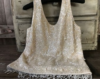 1950s Classic Cream Beaded Sequins Shell Top, Pearls, Wedding, Bridal, Mother of the Bride, Mad Men, Vintage Hollywood
