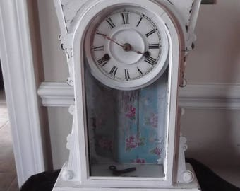 upcycled shabby chic wooden clock. distressed decor , vintage style paper, vintage clock with key