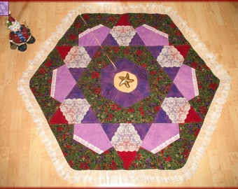 Quilted Christmas Tree Skirt Quilt Winter Flowers 27