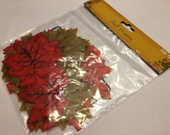50 count  bag of mixed fall fabric leaves, 75 mm (R3)