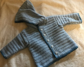 size 6-9 month light blue hoodie with white buttons (BRCL)