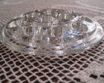 Vintage clear glass Flower Frog, 5 inch round, flower arrangement holder