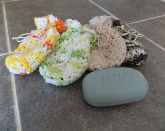Crochet soap bag/cotton soap bag/soap saver/shower bag/gift/gift for her/gift for him/soap cozy/