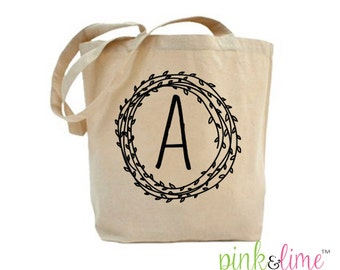 Shopping Tote Bag, Canvas Bag, Cotton, Shopping Tote, Market Bag, Shopping Bag, Grocery Bag, Monogrammed, Initial, Quote, Item TB001