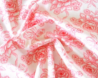 french floral fabric vintage fabric floral fabric for patchwork quilting fabric antique pink roses fabric vintage floral fabric 202