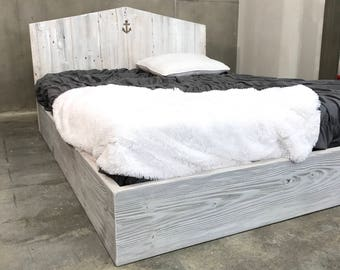 kate bed weathered grey white and natural wood tones platform base with customize