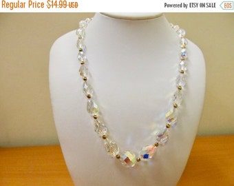 On Sale Vintage Graduated Aurora Borealis Crystal Necklace Item K # 2008