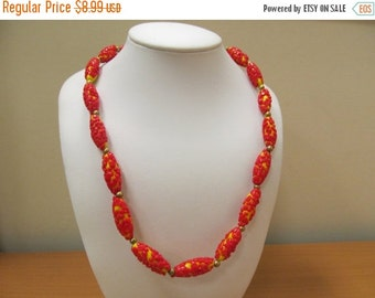 On Sale Vintage Red and Yellow Applied Art Glass Beaded Necklace Item K # 1211