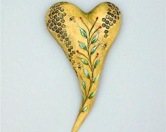 "Heart, ceramic wall art, Jacquline Hurlbert, one of a kind, unique, title: ""Journey"""