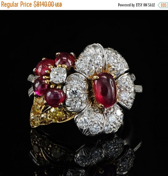 ON SALE Platinum ruby and diamond design ring