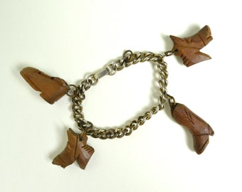 Vintage 1940s 40s Western Charm Bracelet Wood Novelty Jewelry Charms Cowboy Boot, Horse, Shoe