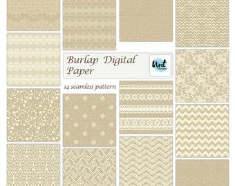 Romantic rustic Digital Scrapbooking Paper Pack. Scrapbook Papers pattern, burlap background, old style, vintage digital paper. Rusteam