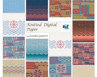 Knit Digital Paper, Knit Patterns, Sweater Pattern, Winter Digital Paper, knitted digital paper, knit seamless pattern, knit print - Rusteam