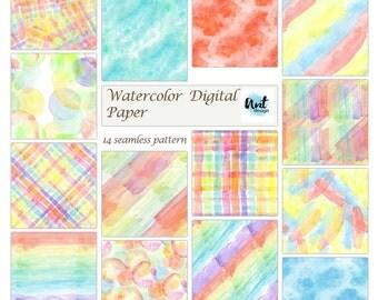 Rainbow Watercolor Digital Papers, Digital Watercolor Paper, Watercolor Blobs Paper, seamless pattern. Bright Watercolors, Messy Watercolor