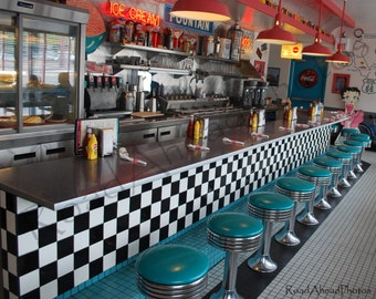 8 x 10 matted photograph, 50's diner photo