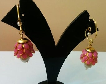 Three- tier Indian pacchi, pachi jhumkas in pink with golden hook, Indian jewelry, earing