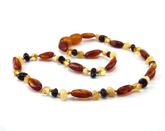 Amber Baltic Necklace Toddler Child Teething Baby Polished Mixed Butter Cherry Lemon Cognac Beads