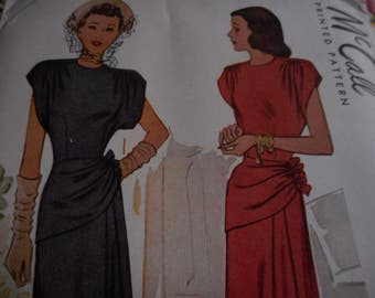 SALE Vintage 1940's McCall 6961 Dress Sewing Pattern, Size 14 Bust 34