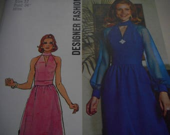 Vintage 1970's Simplicity 6033 Dress Sewing Pattern, Size 12 Bust 34