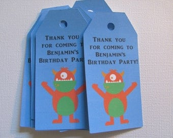 Little Monster Birthday, Set of 24 Personalized Gift Tags, Little Monster Birthday Decorations, Little Monster Birthday Tags