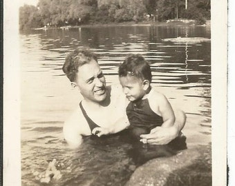 Vintage 1920's Photograph of Dad with Child Swimming in Lake