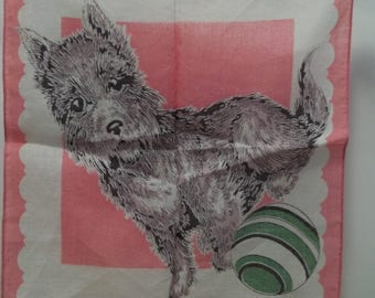 Vintage Cotton 1950's Child's Hankie Dog with Ball