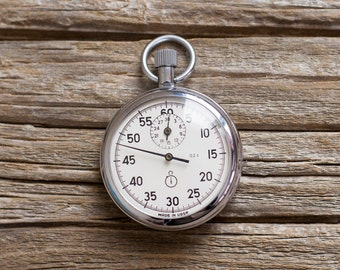 Vintage Stop Watch , Russian Chronometer Agat , Wind up Stopwatch Soviet Union Era