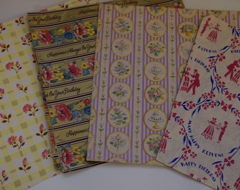 Vintage Birthday wrapping Paper. Vintage Birthday ephemera. Vintage party wrapping paper