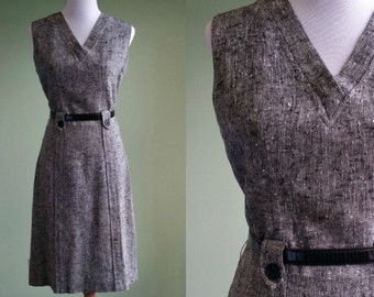 1960s Tweed Sheath Dress - 60s Preppy Eve Carver Dress - Medium