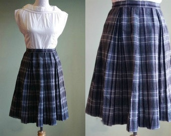 """1950s Plaid Skirt - Vintage 50s Wool Skirt - Sockhop - 25"""" Waist"""