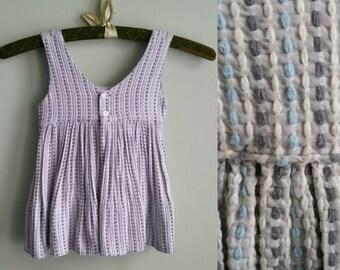 1950's Stormy Sundress - Vintage Toddler Girl Sleeveless Dress - Gray Blue White - 18-24 Months