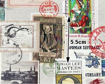 Vintage Postal Stamps Cotton Fabric, Digital Printing - Fabric By the Yard 96231